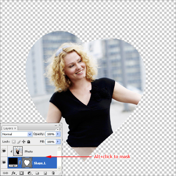 how to use shape as clipping mask