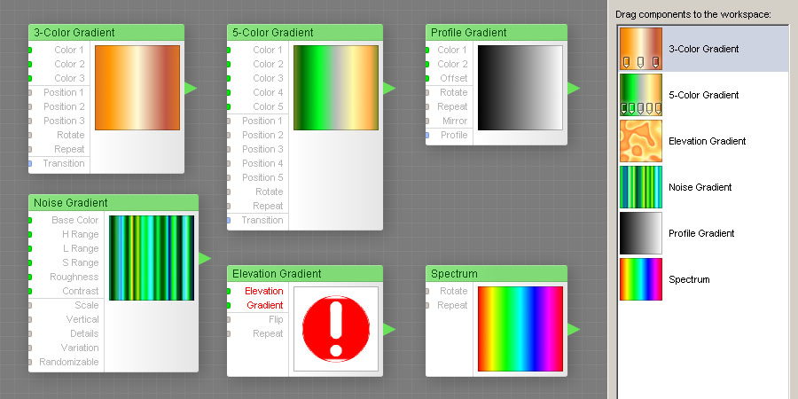 The Gradient components inside the Filter Editor